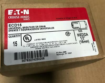 15 X Crouse Hinds Ecd15 12 Universal Breather Or Drain Stainless Steel New Stk