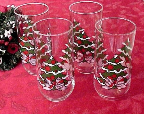 Vintage Christmas Drinking Glasses Tumblers (4) Luminarc Tree Stripped Red Bow
