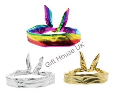 Metallisch Verkabelt Stirnbänder Neu Rainbow Gold Silber Retro Schal Gedreht
