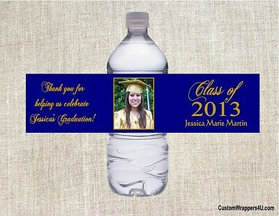 Graduation Graduate ANY COLOR YOUR PHOTO Party Favors Water Bottle Labels Custom - Photo Water Bottle