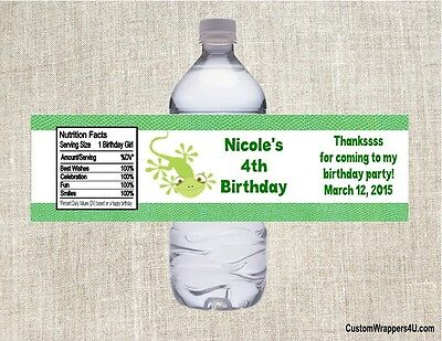 Reptile Birthday Party (Reptile Lizard Birthday Party Favors Water Bottle Labels)