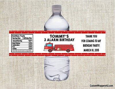 Fire Truck Engine Birthday Party Favors Water Bottle Labels Personalized Custom - Firetruck Party Supplies