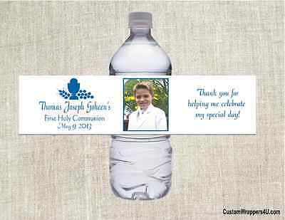 Baptism Communion Any Color YOUR PHOTO  Party Favors Water Bottle Labels Custom - Photo Water Bottle