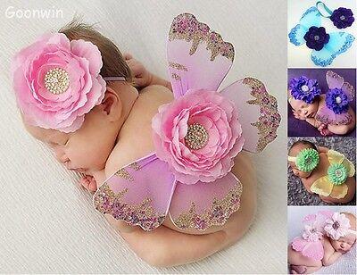 Neugeborenes Mädchen Baby Kostüm Schmetterling Flügel+Stirnband Fotoshooting - Schmetterlingsflügel Kostüm Baby
