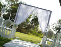 $1.25 WHITE CHAIR COVERS AND $1 SASHES FOR RENT