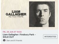 Liam Gallagher Finsbury Park face value ticket