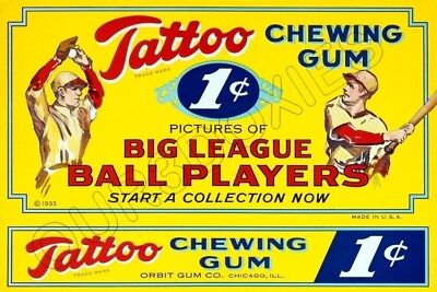1933 Tattoo Orbit Gum Baseball Cards Store Counter Standup Sign - Cards Tattoo