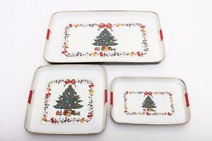 3 Piece Christmas Tray Set