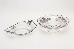 2 Silver Overlay Glass Dishes