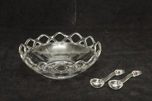 Glass Bowl with Spoons