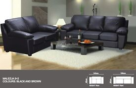 BLACK OR BROWN THE SET OF 3+2 SEATER SOFA - MALAYSIA