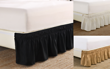 """1 Wrap Around Elastic Bedding Bed Dressing Easy Fit Solid Skirt 14"""" inch Drop"""