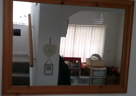 Large Wooden Framed Mirror Great Condition