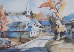 Mary Yvonne ( Roberts) Diceman (1921-2000)-Painting,Quebec Scene