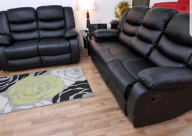 New Black 3+2 Seater Sorrento Leather Recliner Sofas With Cupholders