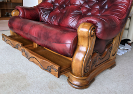 ANTIQUE Real leather, wood carved 2 seaters antique sofa.