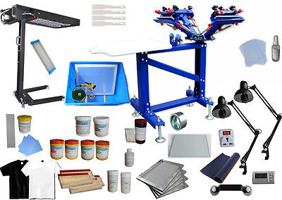 4 Color Micro-adjust Screen Printing Kit With Flash Dryer Exposure Diy Supplies