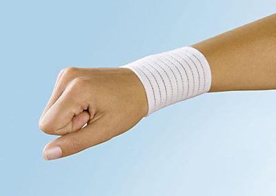 1 Handgelenkstütze weiß elastisch, Klettverschluß; Handgelenkbandage Handbandage - Elastische Handgelenk Hand Stütze