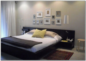 Black-brown ikea malm bed frame w/ floating nightstands & slats