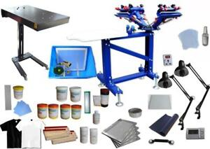Floor Type 4 Color Screen Printing Press Silk Screen Materials Kit include Flash Dryer &exposure unit 006894