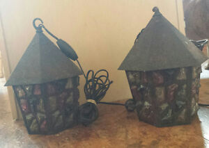 Gothic Style (set of 2) wrought iron hanging lights-$90