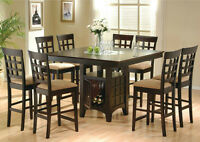 NEW 9 PC Counter Height Dining Set w/Storage. Free Delivery