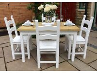 Rustic Farmhouse Dining Table & 4 White Rafia Chairs ~ Shabby Chic 4 Seater Dining Table