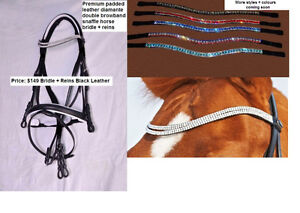 Black Leather Fancy English Bridle Double Crystal Browband Flash London Ontario image 1