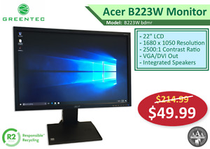 "Refurbished Monitors - Acer B223W 22"" LCD - $49.99"