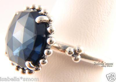 (MIDNIGHT STAR Genuine PANDORA Ring Silver/Dark~Navy BLUE CRYSTAL STONE 6/52 NEW)