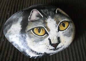 Cat Rock - 10 lbs. hand painted,  one of a kind,reduced $35.