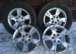 4 GMC RIMS AND 2 SNOW TIRES 265/60R18
