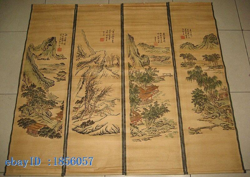 Chinese painting scroll Landscape Yuan Jiang 4 scrolls 4 season 袁江 春夏秋冬