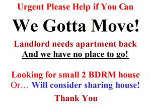 Urgent! Two mature adults are looking for a house or two rooms!