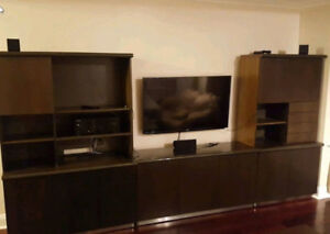 "3 Piece Entertainment Unit with 55"" TV stand opening TV"