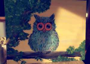 Fuzzy Owl canvas painting