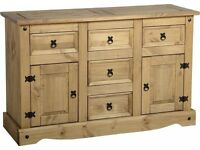 New Solid Corona Mexican pine 5 drawer 2 door sideboard