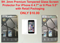 9H.3mm Premium Tempered Glass Screen Protector For iPhone 6 & 6+