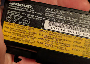Lenovo FRU 42T4791 Battery holds charge 15 minutes