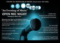 """Open Mic Night 4th Annual """"An Evening of Music"""""""