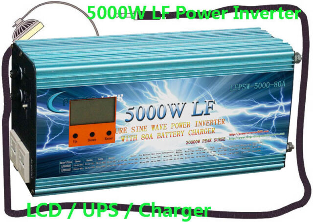 """20000W/5000W LF Pure Sine Wave 12V DC/230V AC Power Inverter 3.5""""LCD/UPS/Charger"""