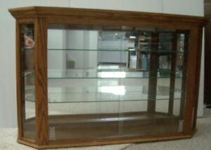 Custom Made Oak Wall/Dresser Mounted  Curio Cabinet