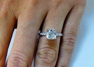 1.60 ct. Cushion Cut Natural Diamond U-Pave Engagement Ring GIA H, VS2 14k NEW 2