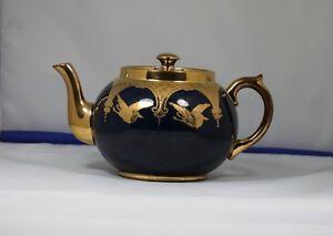 GIBSONS Large Teapot Royal Blue /gold Trim with birds (storks?) Kingston Kingston Area image 3