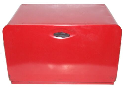 """Vintage KCO Red All Metal Large Bread Box Made in Canada 16.5"""" X 10.25"""" 11"""" Used"""