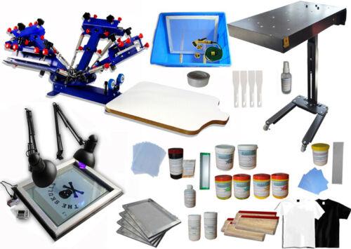 4 Color Silk Screen Printing Kit Adjustable Press Machine Supplies Ink Squeegee