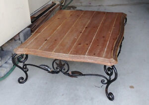 Solid Wood & Iron Wrought Coffee Table with Ornate Leaf design