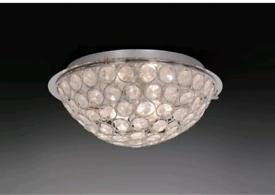 Home Amelia Beaded Flush Ceiling Light - Chrome