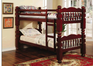 SOLID CHERRY WOOD BUNK BEDS/TWO TWIN BEDS