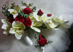 White Orchards and Red Rose Wedding Bouquet Flower Set. London Ontario image 3